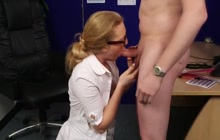 Boss shoots HUGE load on secretary's glasses