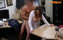 Busty lady sucks and rides dick