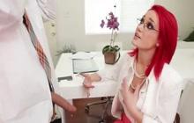 Redhead babe fucks with boss